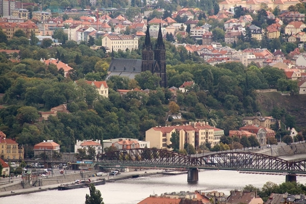 view of a Prague church from a distance