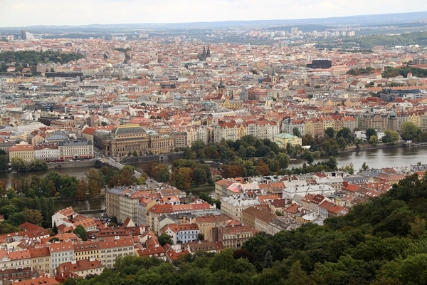 a wide view of Prague from Petrin Hill