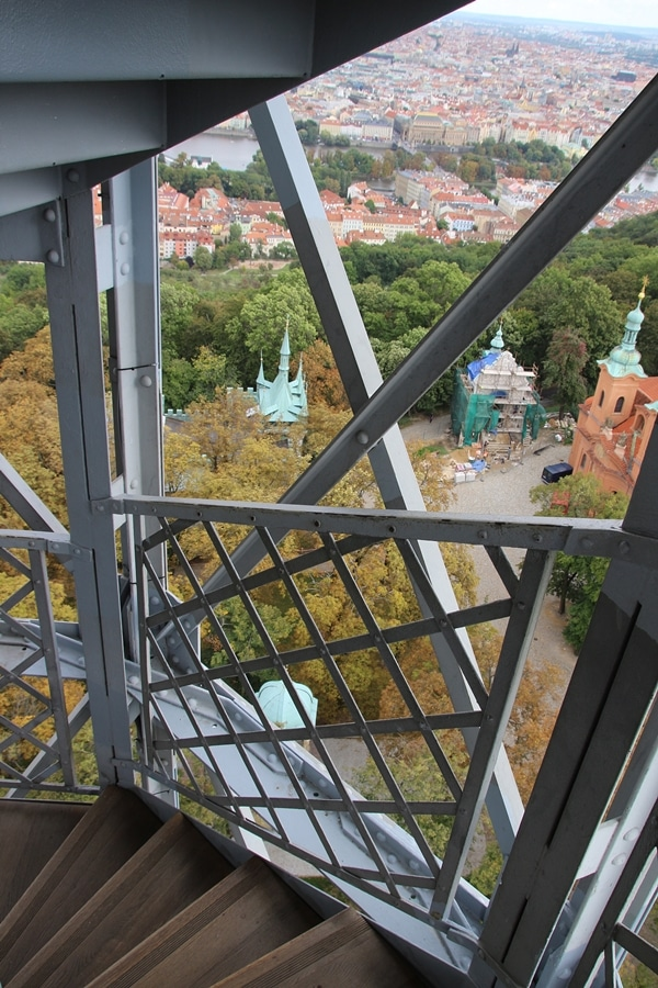 view from the stairwell of Petrin Tower in Prague