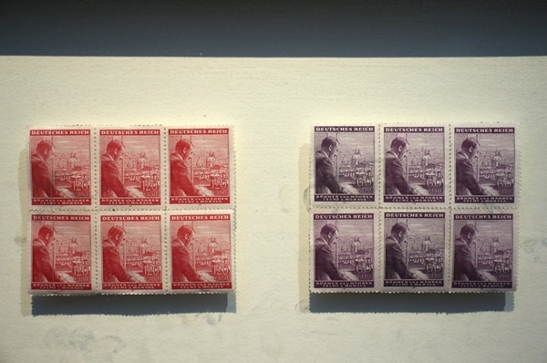 old stamps in a museum display