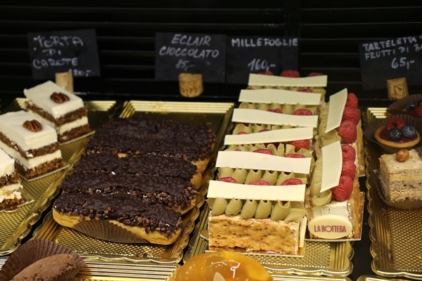 a variety of desserts on display