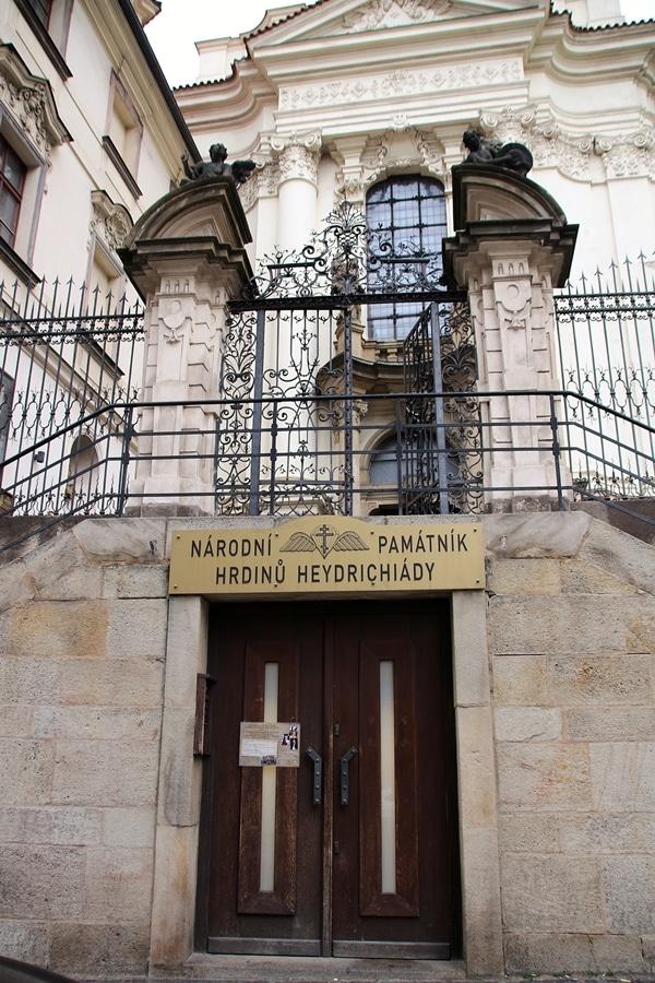 doors to enter crypt below church in Prague