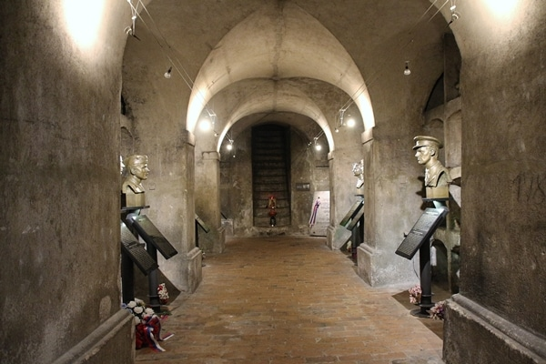 a crypt with statues