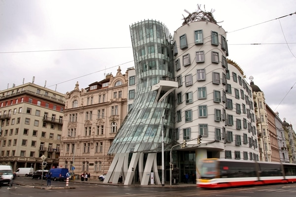 the Dancing House building in Prague