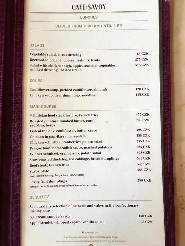 Cafe Savoy menu