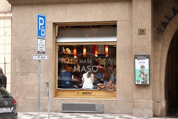 exterior of Nase Maso butcher and meat shop in Prague