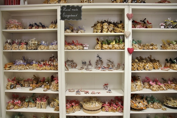 shelves stocked with gingerbread in a gingerbread shop