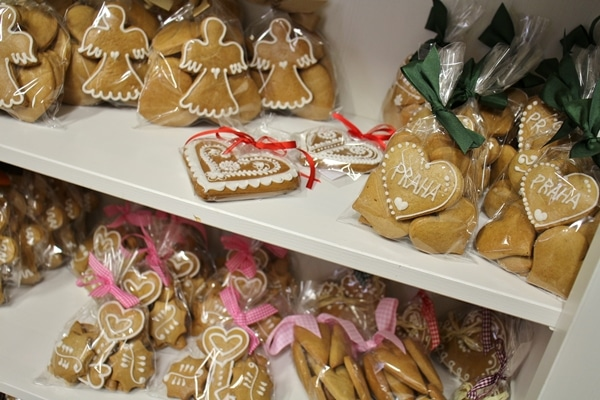 packages of gingerbread cookies for sale in gingerbread shop in Prague