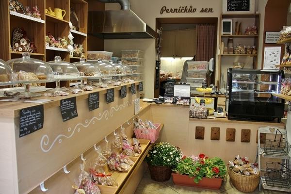 interior of Prague gingerbread shop