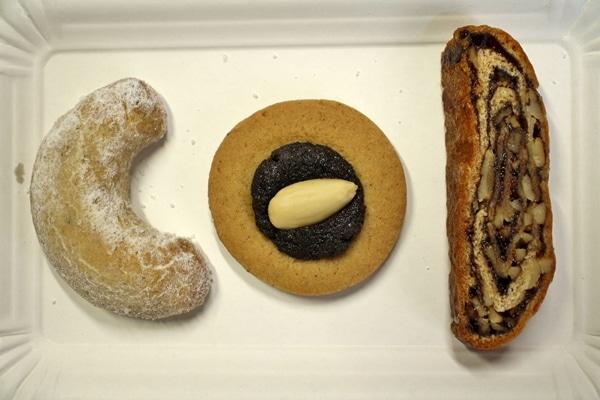 3 varieties of cookies on a white plate