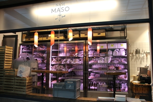 meat displays inside Nase Maso in Prague