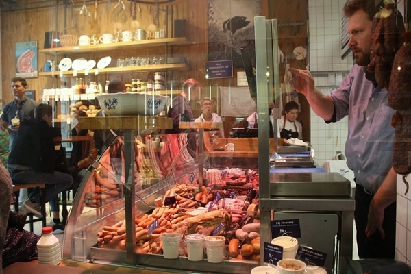 the butcher counter at Nase Maso meat shop in Prague