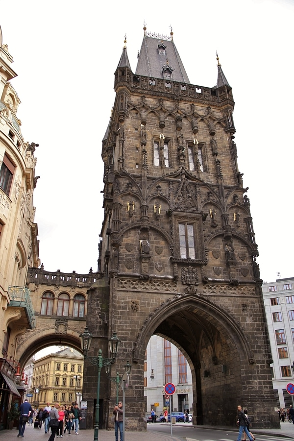 exterior view of the Powder Tower in Prague