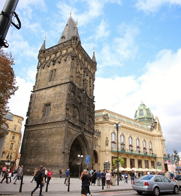 the Powder Tower and Municipal House in Prague