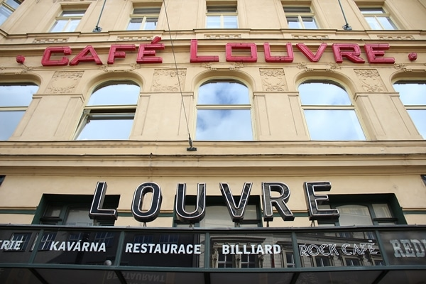 exterior of the Cafe Louvre building in Prague