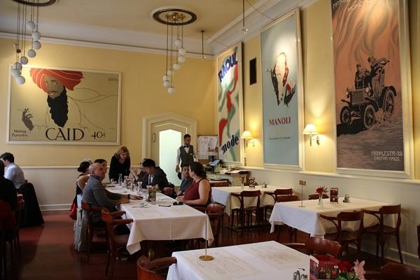 dining room inside Cafe Louvre in Prague