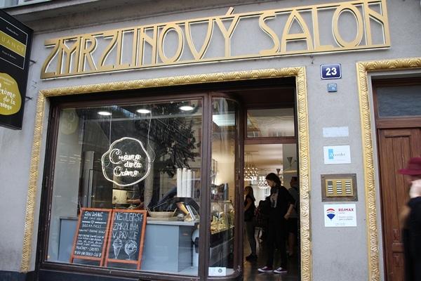 exterior of a Prague ice cream shop