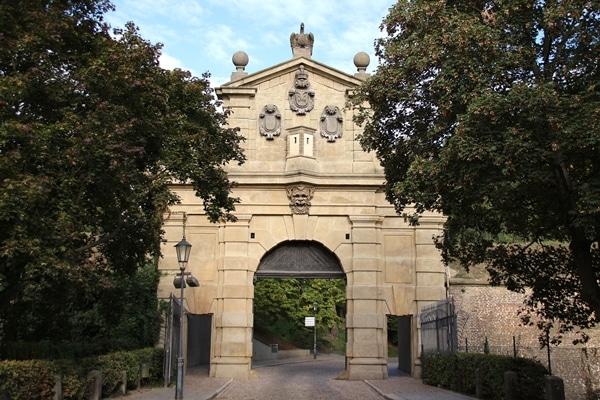 ornate Leopold Gate in Prague