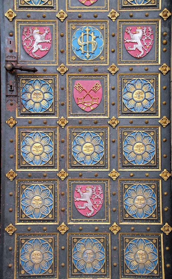 colorful and ornate church door at Vyšehrad in Prague