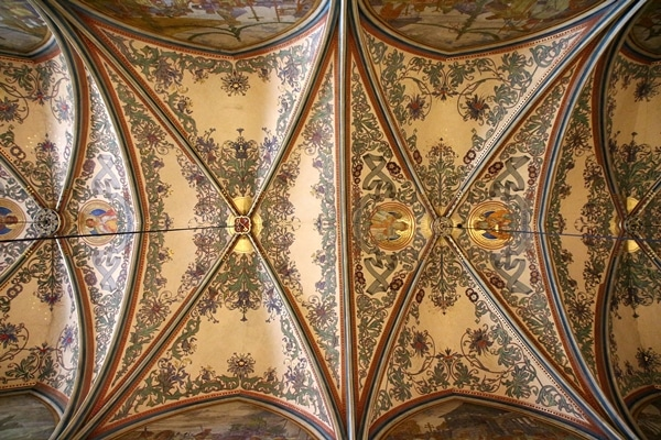 painted vaulted ceilings inside Basilica of St. Peter and St. Paul in Prague