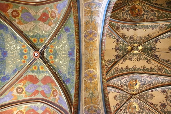 colorful vaulted ceiling inside Basilica of St. Peter and St. Paul in Prague