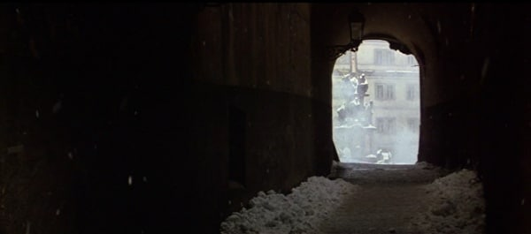 a screenshot from the movie Amadeus of a snowy tunnel
