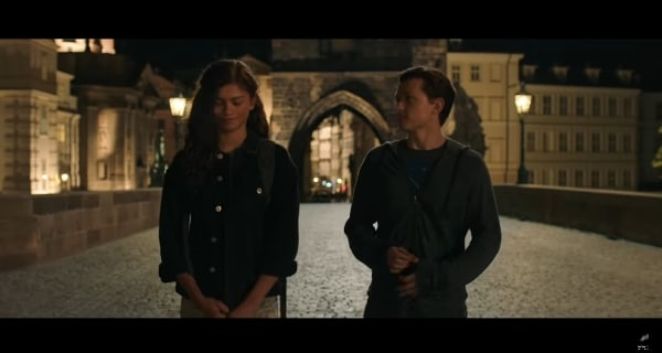 screenshot from Spider Man: Far From Home showing Peter and MJ on bridge