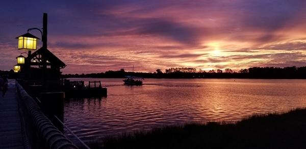 sunrise over a lagoon