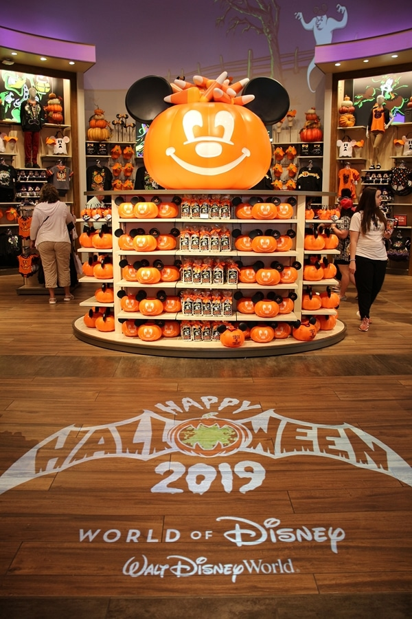 Halloween decorations in a Disney store