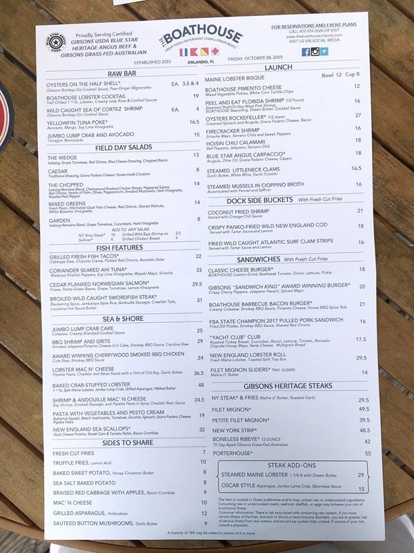 The Boathouse menu