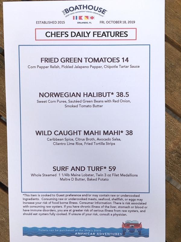 The Boathouse specials menu