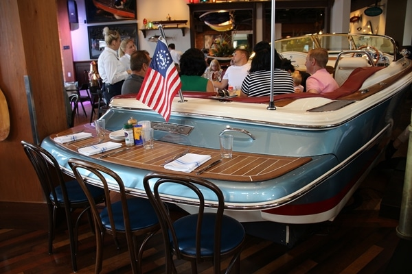 a restaurant table made from a boat