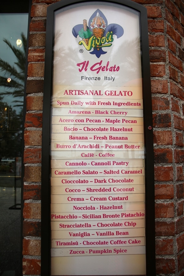 Vivoli Gelato menu at Disney Springs