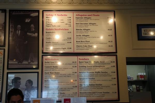 interior menu at Vivoli Gelato