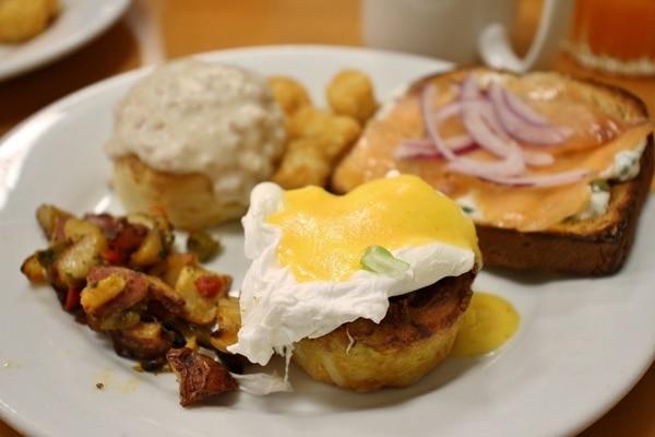 A plate of food of breakfast food