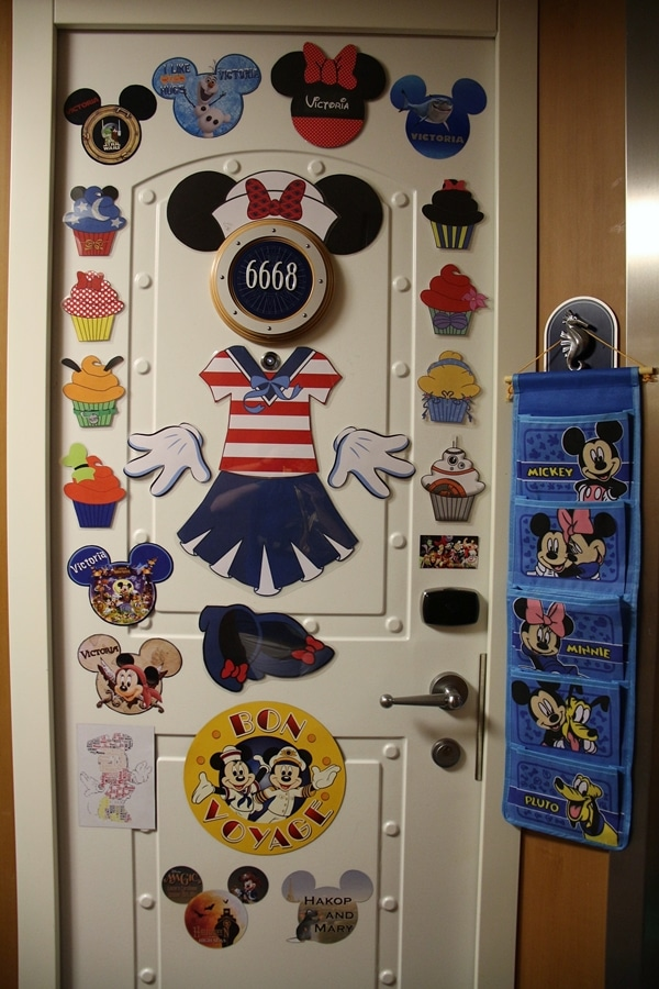 a Disney Cruise door decorated with magnets