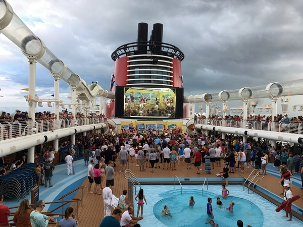 the pool deck of the Disney Fantasy cruise ship
