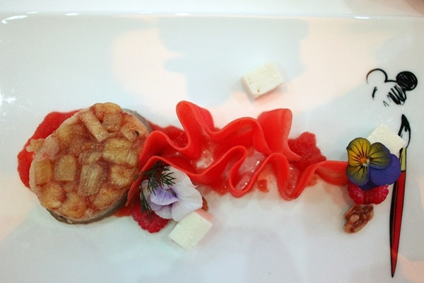 decoratively plated colorful dessert