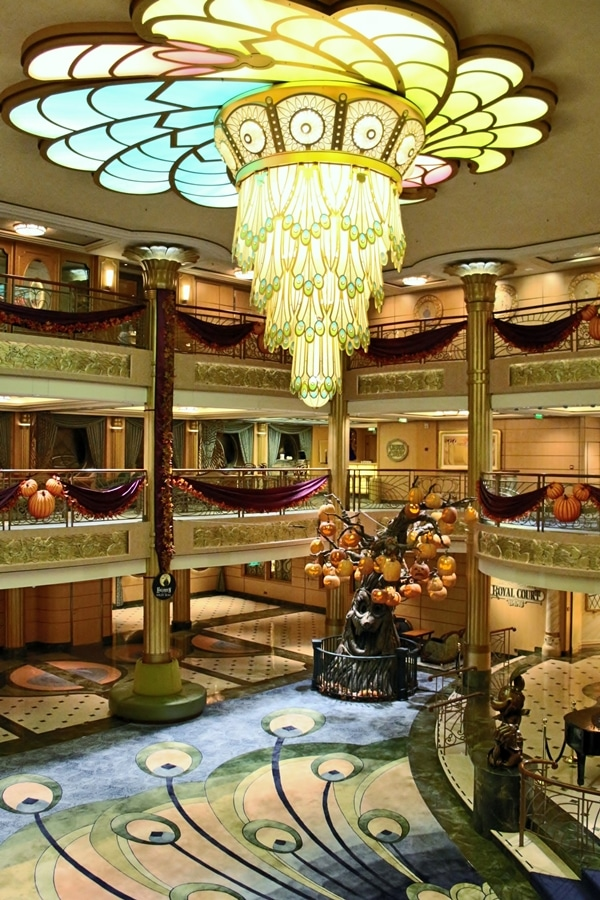 The atrium of the Disney Fantasy decorated for Halloween