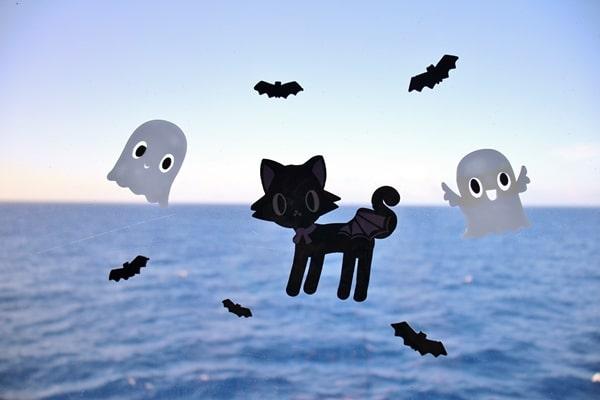 Halloween window decals on a cruise ship window