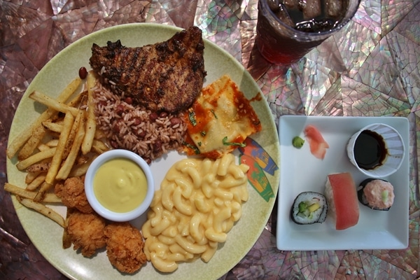 A plate of lunch food on a table