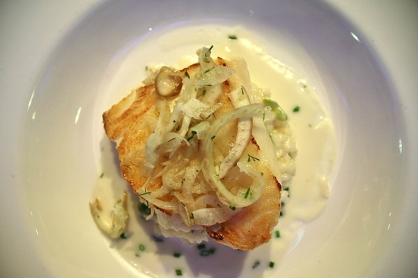 Fish with fennel on a white plate