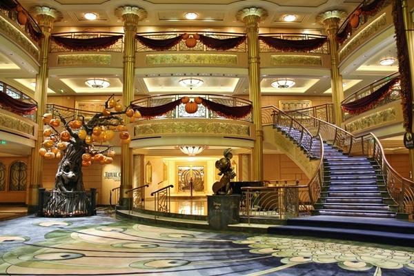 Disney Fantasy atrium decorated for Halloween