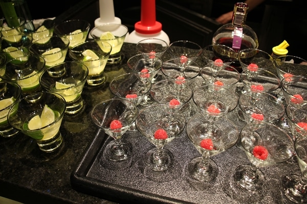 small cocktail classes with raspberry garnishes