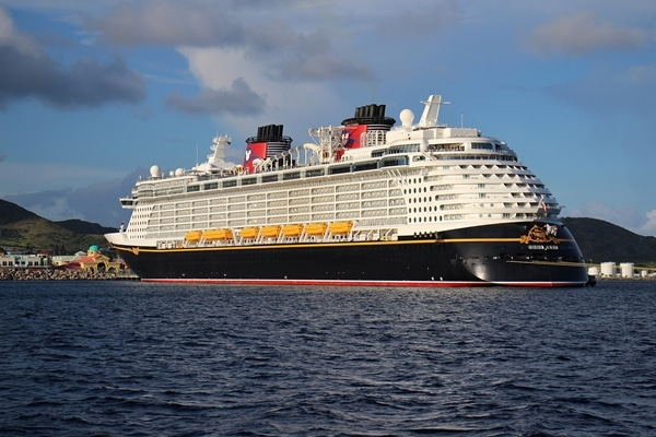 the Disney Fantasy cruise ship at port