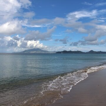 Beach on Nevis with a view of St. Kitts
