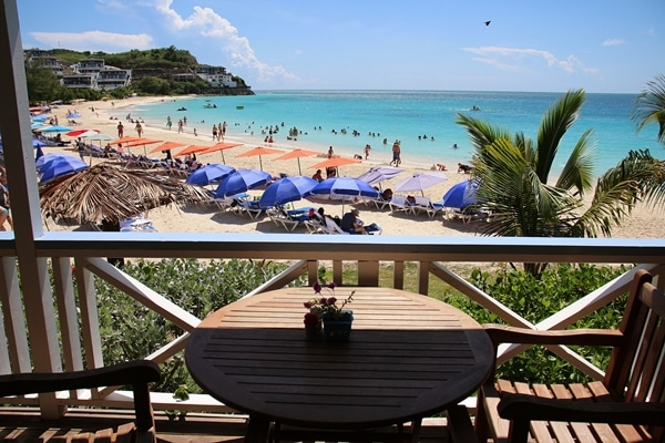 view from the open-air restaurant at a Caribbean beach