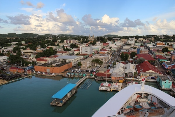 port area in Antigua, viewed from a cruise ship