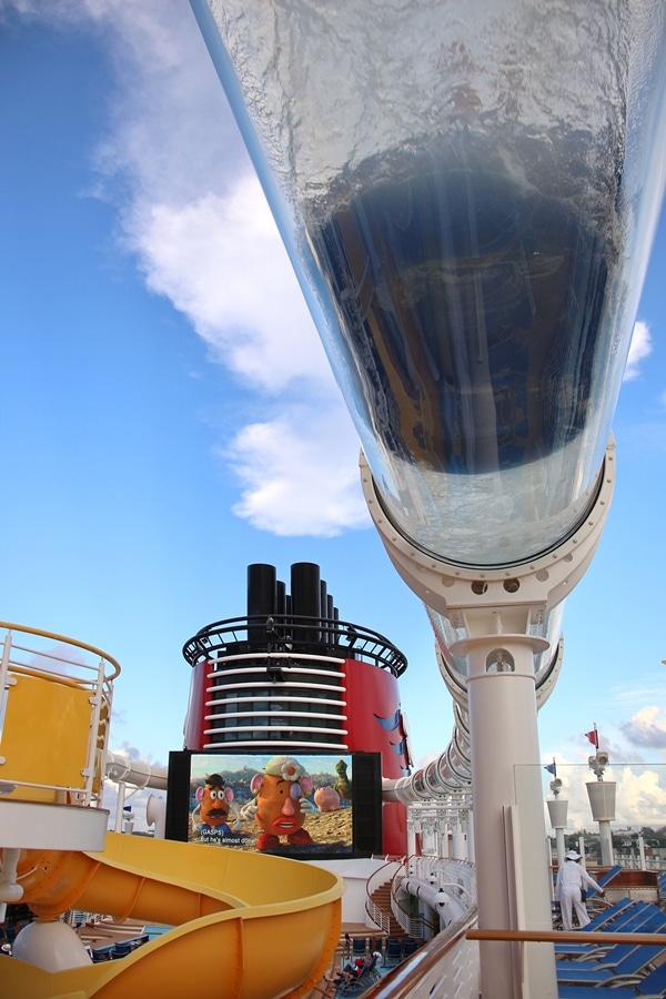 The Aquaduck water slide on the Disney Fantasy cruise ship