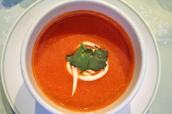 a bowl of tomato soup